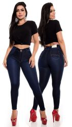 Calça Hot Pants dark blue jeans super stretch