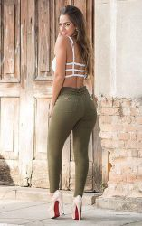 Calça Clochard verde militar Gk1324 com stretch
