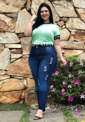 Calça Plus Size Jeans CH1431 destroyed